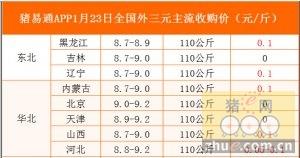 猪易通app01月23日各地外三元价格一览图