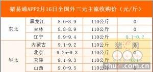 猪易通app02月16日各地外三元价格一览图