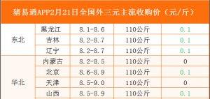 猪易通app02月21日各地外三元价格一览图