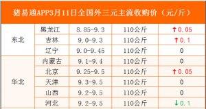 猪易通APP3月11日各地外三元价格表