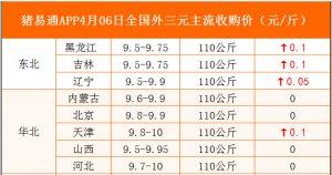 猪易通APP4月06日各地外三元价格表