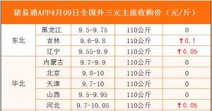 猪易通APP4月09日各地外三元价格表