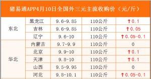 猪易通APP4月10日各地外三元价格表