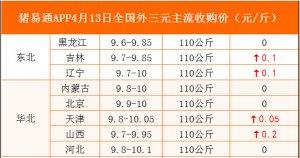 猪易通APP4月13日各地外三元价格表