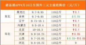 猪易通APP4月16日各地外三元价格表