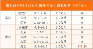 猪易通APP4月17日各地外三元价格表
