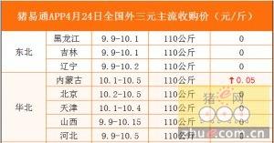猪易通APP4月24日各地外三元价格表