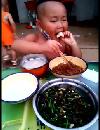 3岁小胖娃直播吃猪肉炖粉条,气势十足