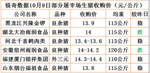 猪易通app10月09日部分企业猪价动态