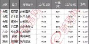 10月15日安徽省猪市行情