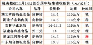 猪易通app11月14日部分企业猪价动态