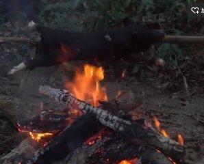 两个小伙子在野外烤乳猪,烤出来吃的特别香……
