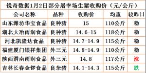 猪易通app1月2日部分企业猪价动态