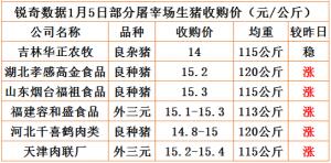 猪易通app18年1月5日部分企业猪价动态