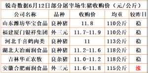 猪易通app18年6月12日部分企业猪价动态