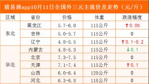 猪易通app10月11日各地猪价走势-跌涨调整现象减弱