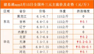 猪易通app19年3月15日各地猪价走势-猪价上涨现象明显增多