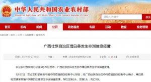广西壮族自治区博白县发生非洲猪瘟疫情