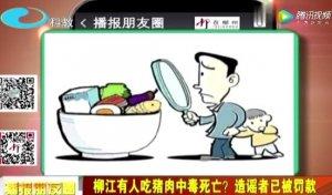 广西柳州:柳江有人吃猪肉中毒身亡?造谣者已被罚款