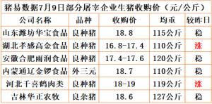 猪易通app19年7月09日部分企业猪价动态