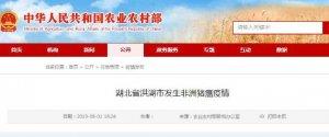 湖北省洪湖市发生非洲猪瘟疫情